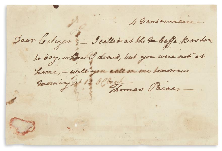 Thomas Paine, autograph letter, americana