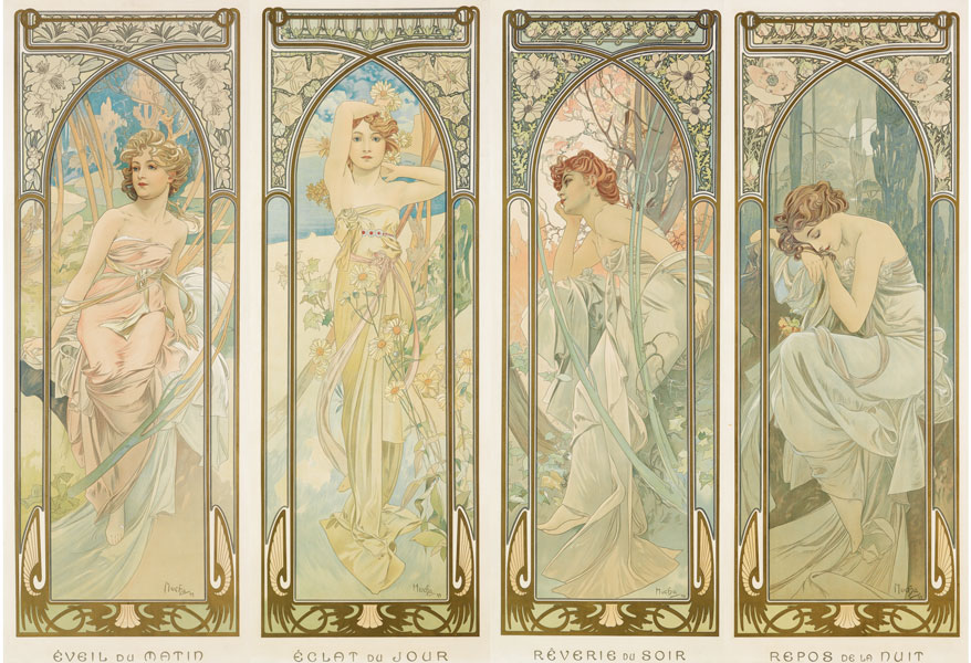 alphonse mucha, times of day, auction