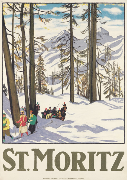 travel poster for st. moritz by emil cardinaux