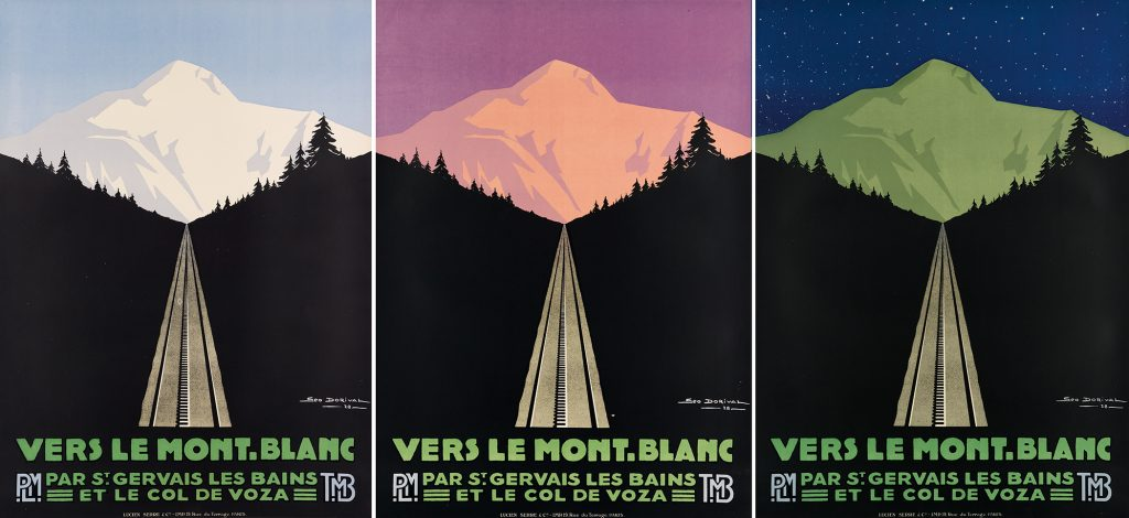 A series of three posters by Georges Dorival of a Mountain scene in blue, purple and dark blue.