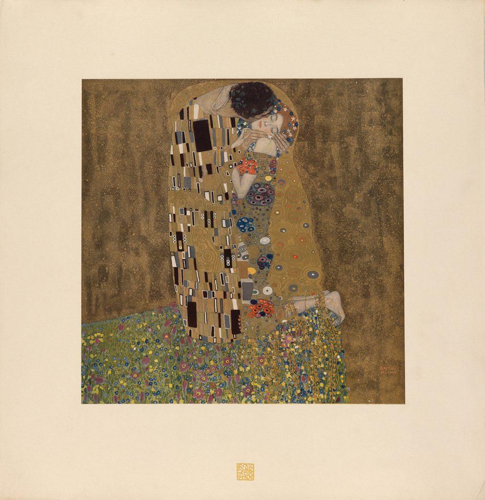 Gustav Klimt's The Kiss from his Das Werk von Gustav Klimt. A man kiss a woman on the cheek.
