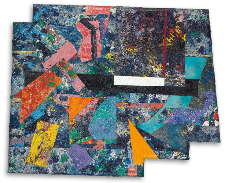 Canvas collage by Sam Gilliam titled Blood Legacy