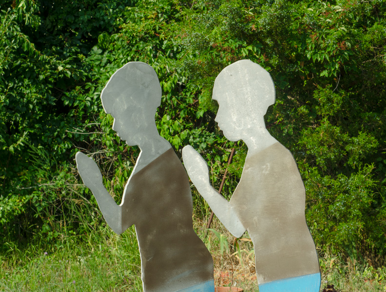Sculptures in the backyard of the Rockaway Artists Alliance gallery.