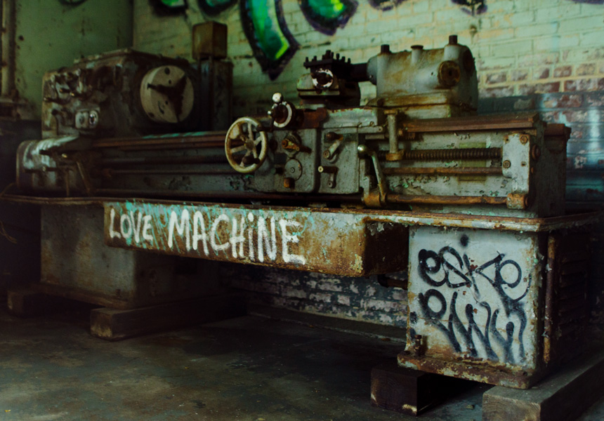 """Love Machine"" cordoned off in the former train gargage."