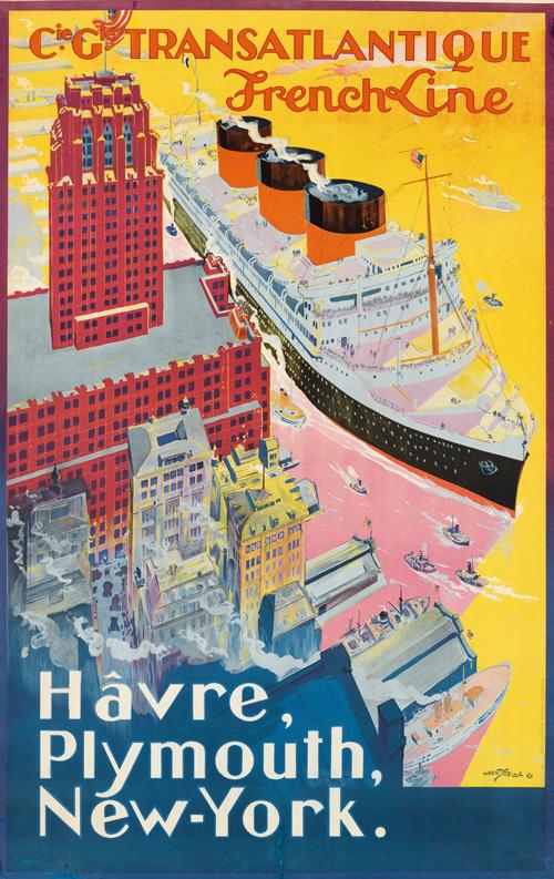 ocean liner poster by albert sebille.