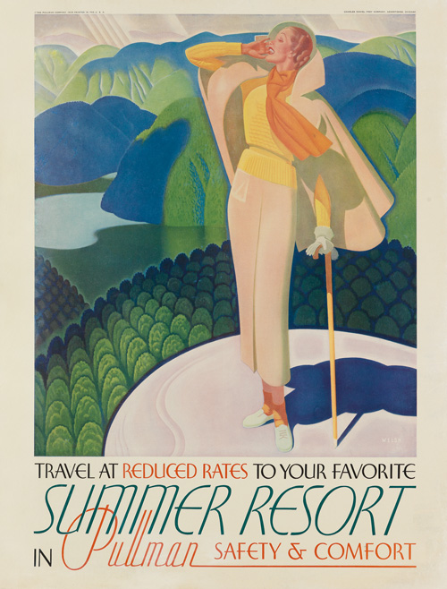 travel poster by william welsh for pullman resort.
