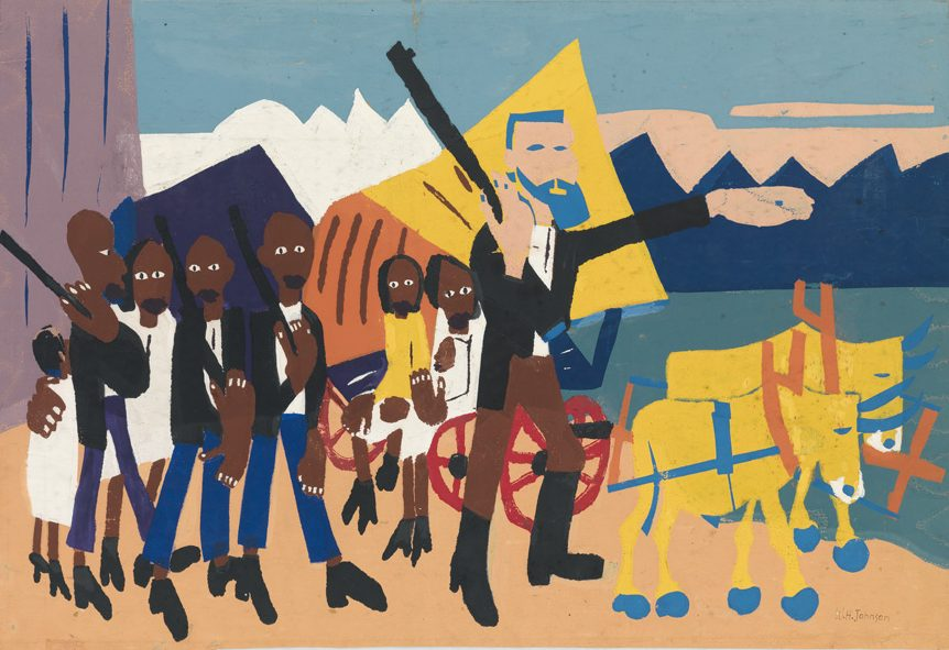William H. Johnson, On a John Brown Flight, color screenprint & pochoir, circa 1945. Estimate $50,000 to $75,000.