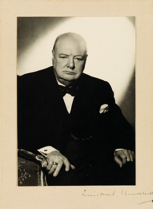 Half-length portrait by Vivienne of Winston Churchill, signed by Churchill, 1950s.