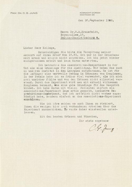 typed letter signed C.G. Jung, 1948.