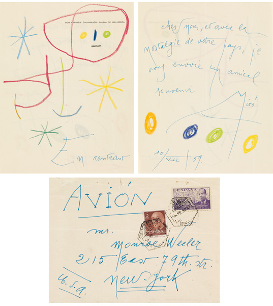 Illustrated note in French by artist Joan Miró to Monroe Wheeler, Director of Exhibitions & Publications at MoMA, 1959.