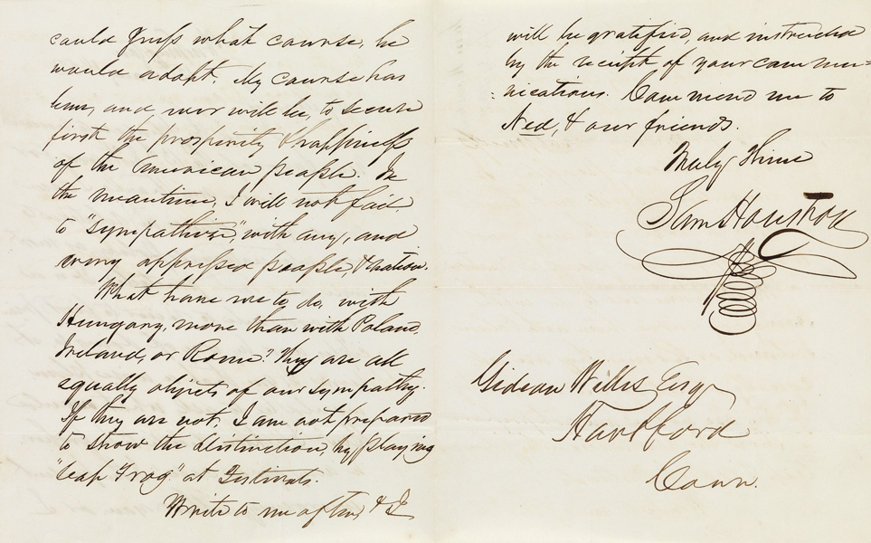 Autograph Letter Signed Sam Houston to Gideon Welles, praising his view on foreign policy, Washington, 1852.