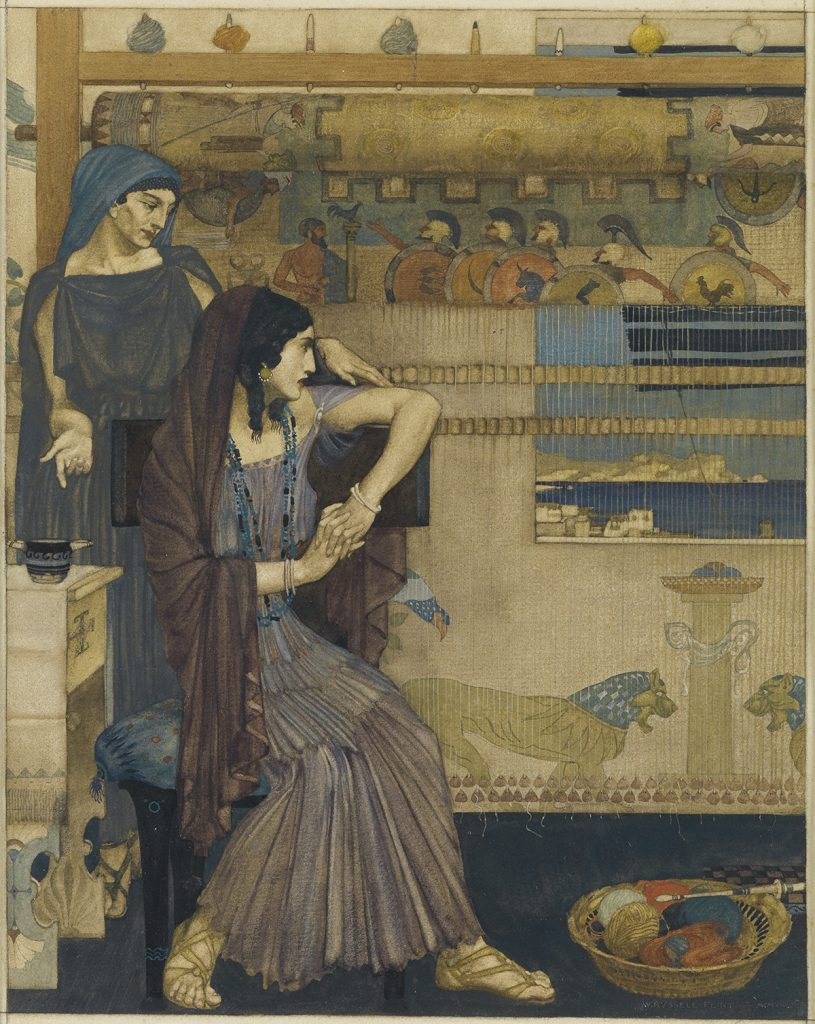 Lot 63: Sir William Russell Flint, illustration for Volume 1, Book 1, of Homer's Odyssey, gouache and watercolor, 1914. Estimate $10,000 to $15,000.