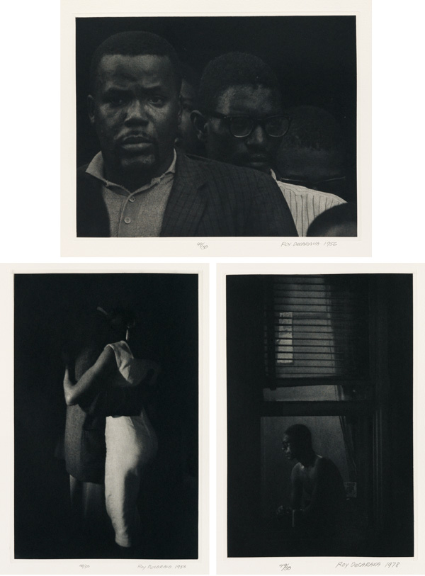 three photographs by Roy DeCarava.