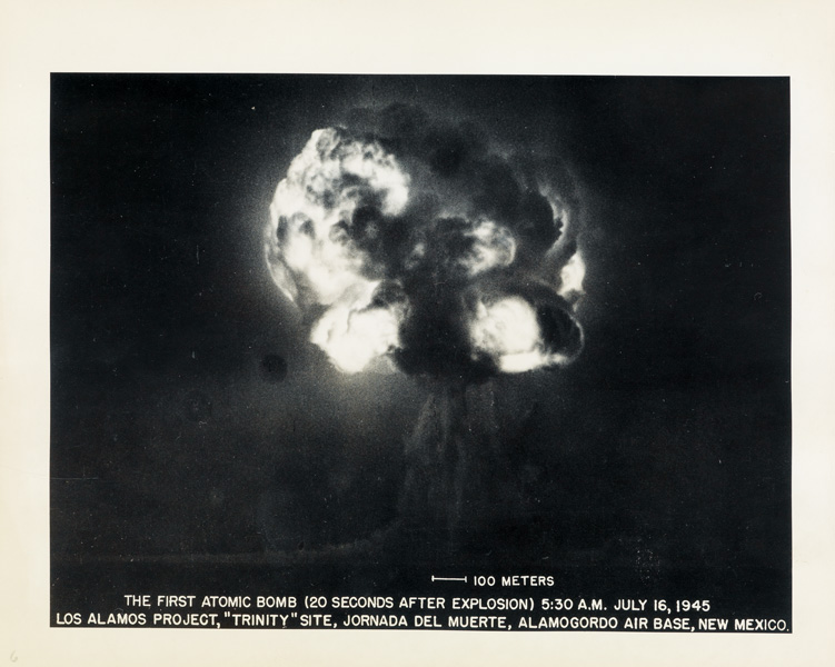 Series of eight photographs documenting the first detonation of a nuclear weapon at Los Alamos Laboratory, silver prints, 1945.