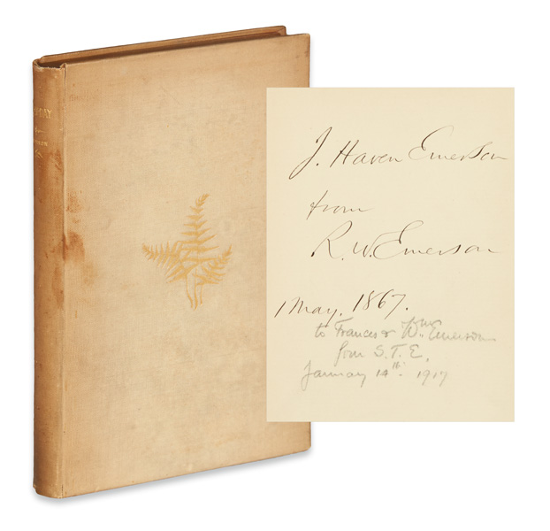 Lot 106, cover and inscription and signature page of Ralph Waldo Emerson's May-Day and Other Pieces.