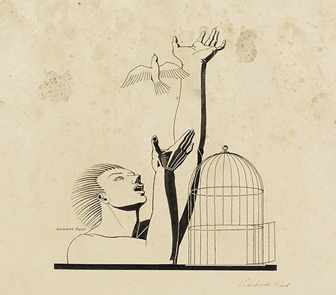 Lot 111, a detail of the headpiece illustration by Rockwell Kent for the broadside by The League of American Writers. The image features a man releasing a bird from its cage.