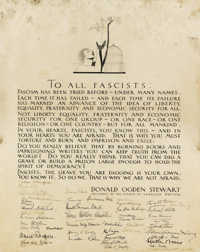 a broadside entitled To All Fascists signed by members of The League of American Writers, illustration of a man letting a bird out of its cage by Rockwell Kent.