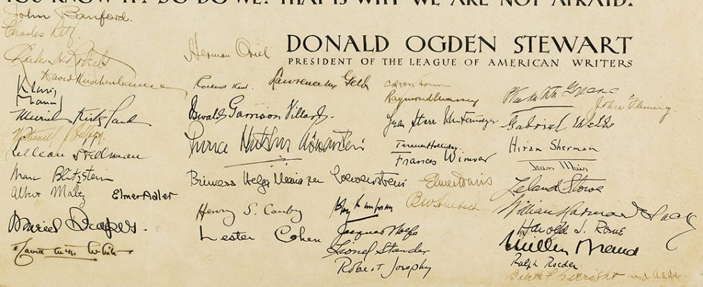 Lot 111, a close up image of the signatures of the members of The League of American Writers from the broadside: To All Fascists.