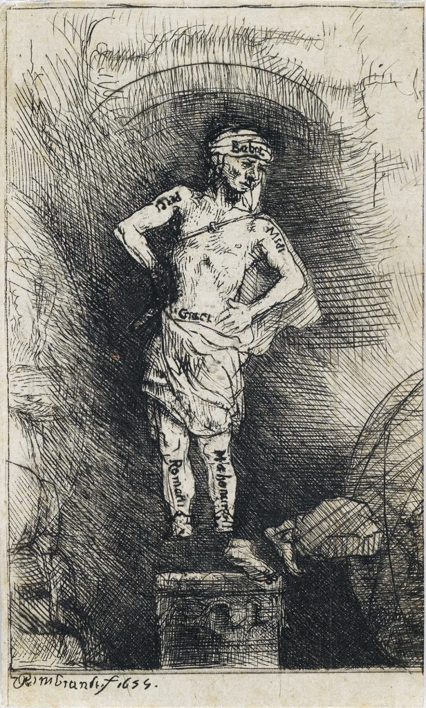 Lot 114, The Statue (Image Seen by Nebuchadnezzar: Four Illustrations to a Spanish Book), etching and drypoint by Rembrandt.
