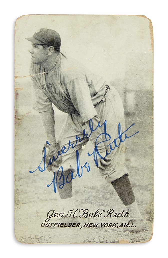 Lot 168, a signed photograph of Babe Ruth while playing with the New York Yankees