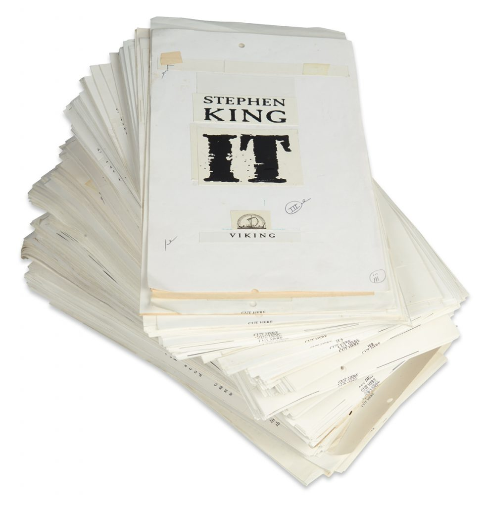 Lot 184, unbound cut galley pages of Stephen King's It