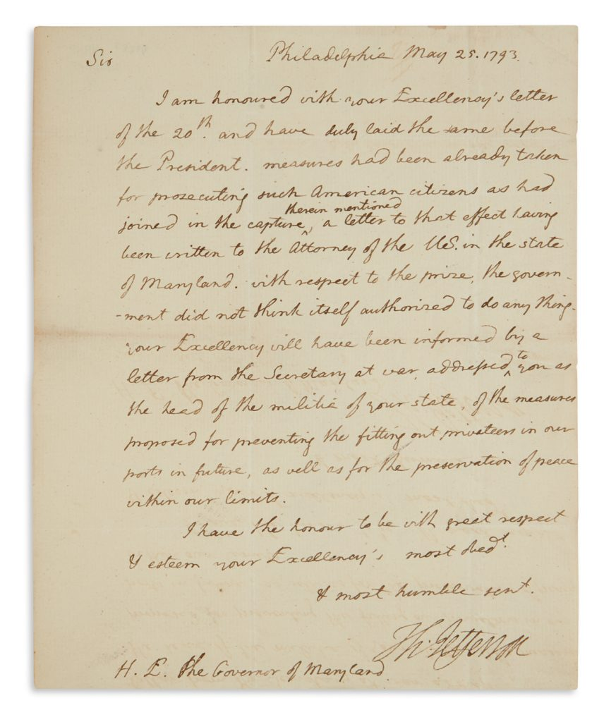 Lot 243, a letter from Thomas Jefferson when he was Secretary of State.
