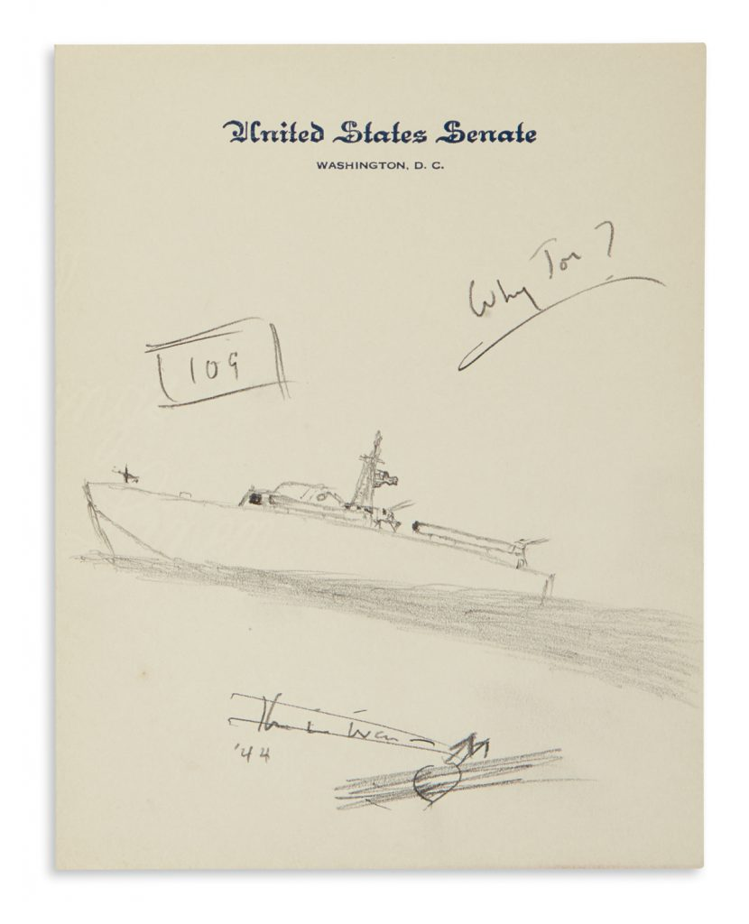 Lot 245, a sketch from John F. Kennedy on United States Senate stationery showing a rough sketch of a PT-109 boat.