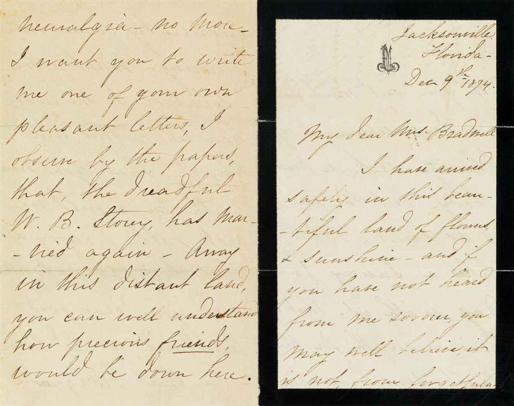 Lot 249, a letter from Mary Todd Lincoln on mourning stationery, written during her time in Florida.