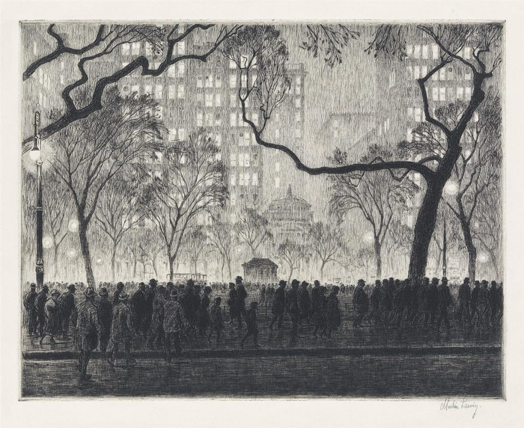 Lot 277, Madison Square, Rainy Night, etching and drypoint by Martin Lewis.