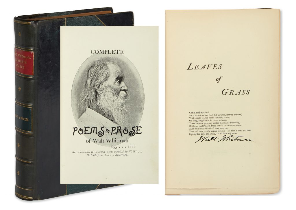 Lot 277, cover with images of title page and Leaves of Grass section title page with signature. Walt Whitman's Complete Poems & Prose.