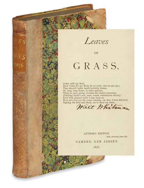 Lot 278, Walt Whitman, Leaves of Grass, Cover and Signed Title Page
