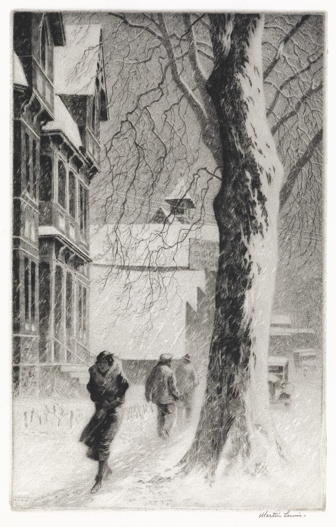 Lot 278, Winter on White Street, drypoint by Martin Lewis.