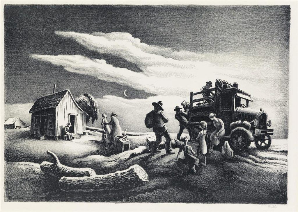 Lot 285, Departure of the Joads, lithograph by Thomas Hart Benton.
