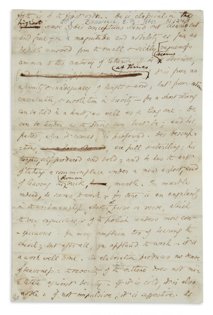 Lot 307, an autograph manuscript by Elizabeth Barrett Browning with a few holograph corrections.