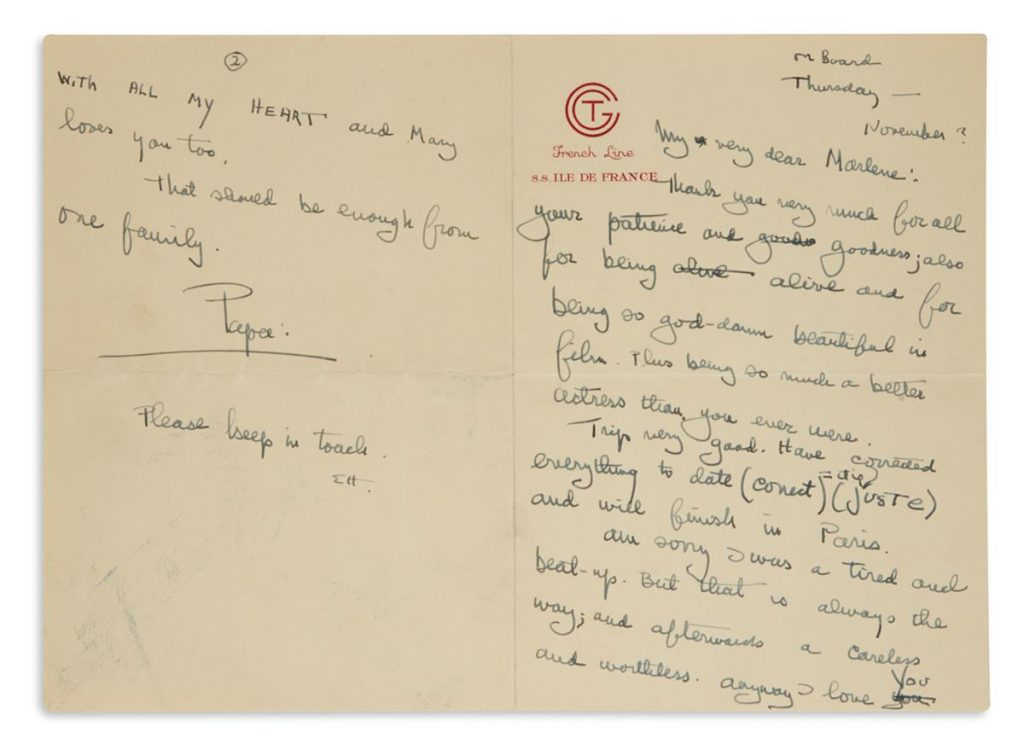 Lot 334, a letter written by Ernest Hemingway to actress Marlene Dietrich expressing his thanks.