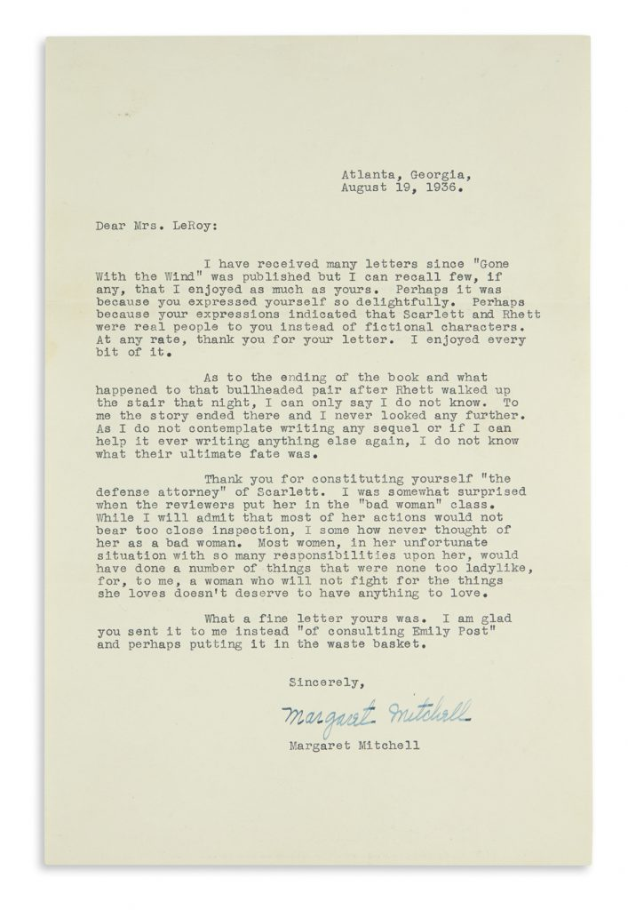 Lot 340, a typed letter from Margaret Mitchell to a fan discussing her characters from Gone With the Wind.