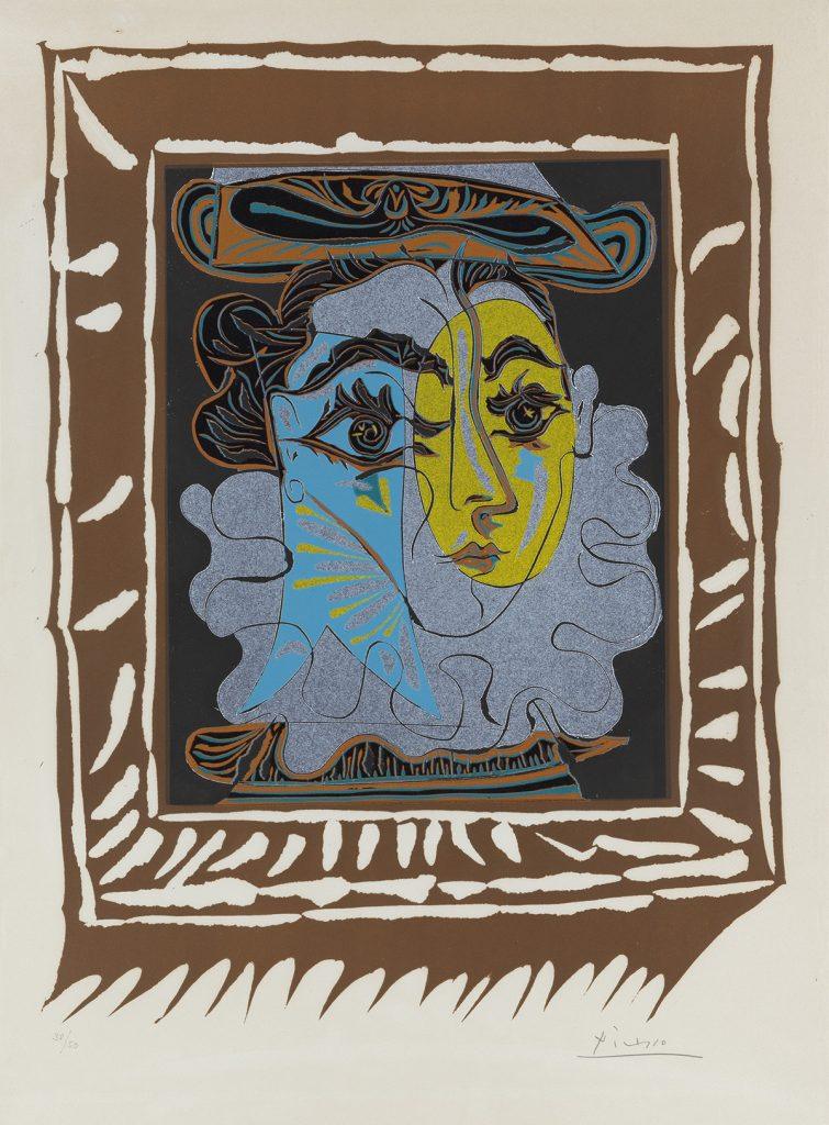Lot 343, La Femme au Chapeau, color linoleum cut by Pablo Picasso featuring his second wife.