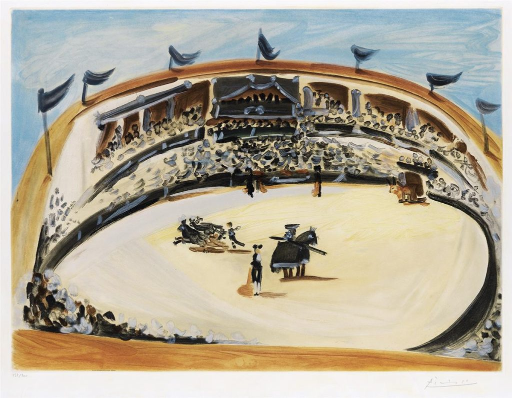 Lot 347, La Corrida, color aquatint by Pablo Picasso featuring an overhead bullfighting scene