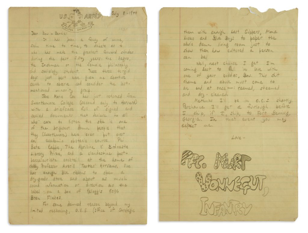 Lot 356, a letter from Kurt Vonnegut to his brother features a US Army doodle as well as his signature in bubble letters.