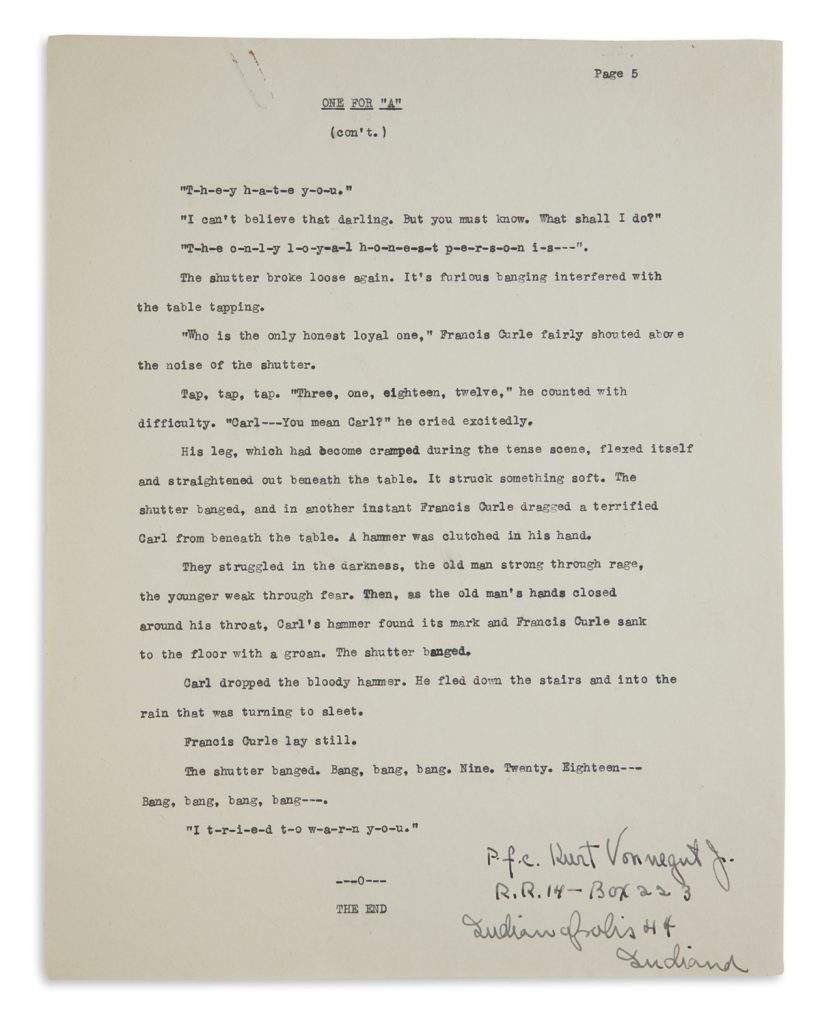 Lot 357, typescript, a complete short story entitled One for A by Kurt Vonnegut, signed and inscribed.