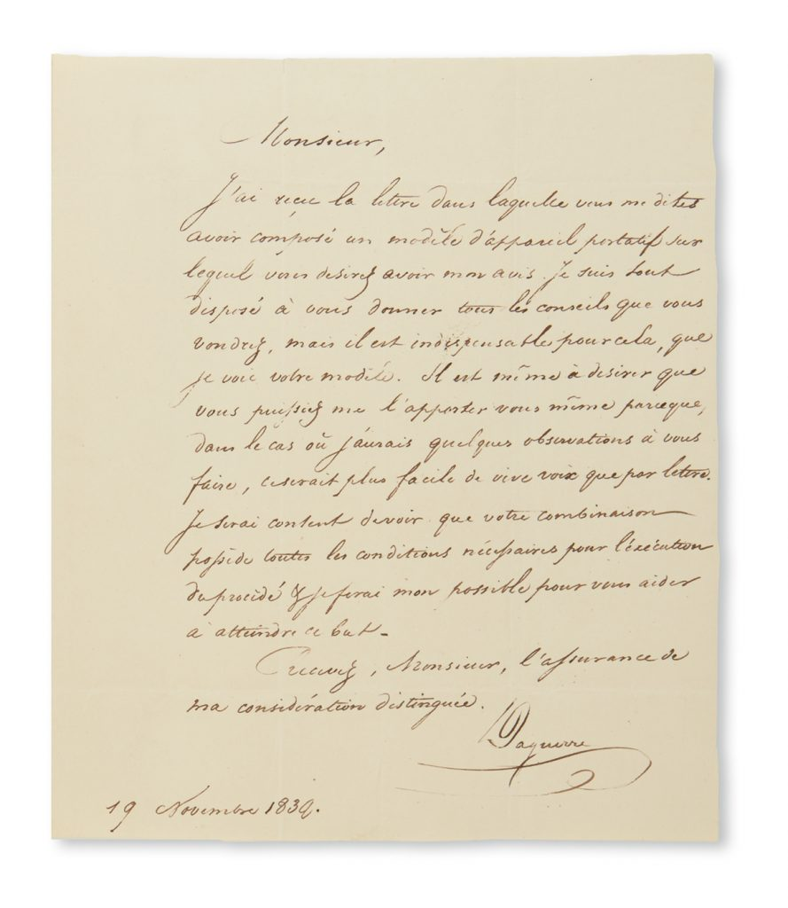 Lot 366, a letter from Louis Jacques Mandé Daguerre discussing his portable camera design.