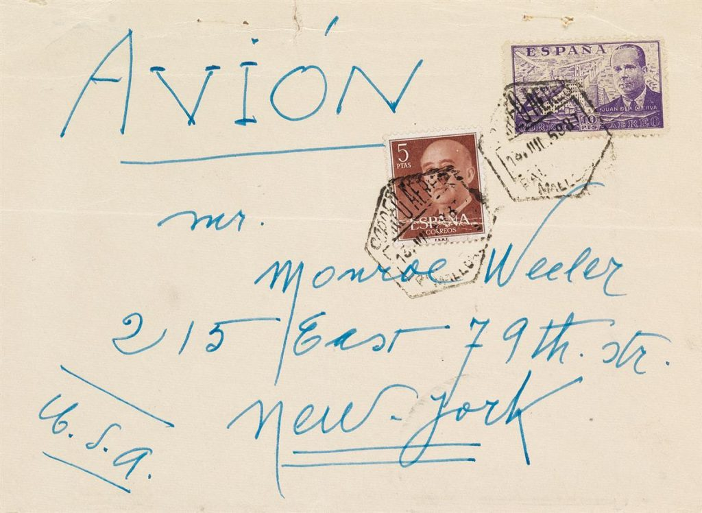 Lot 371, the envelope to an illustrated letter from Joan Miró.