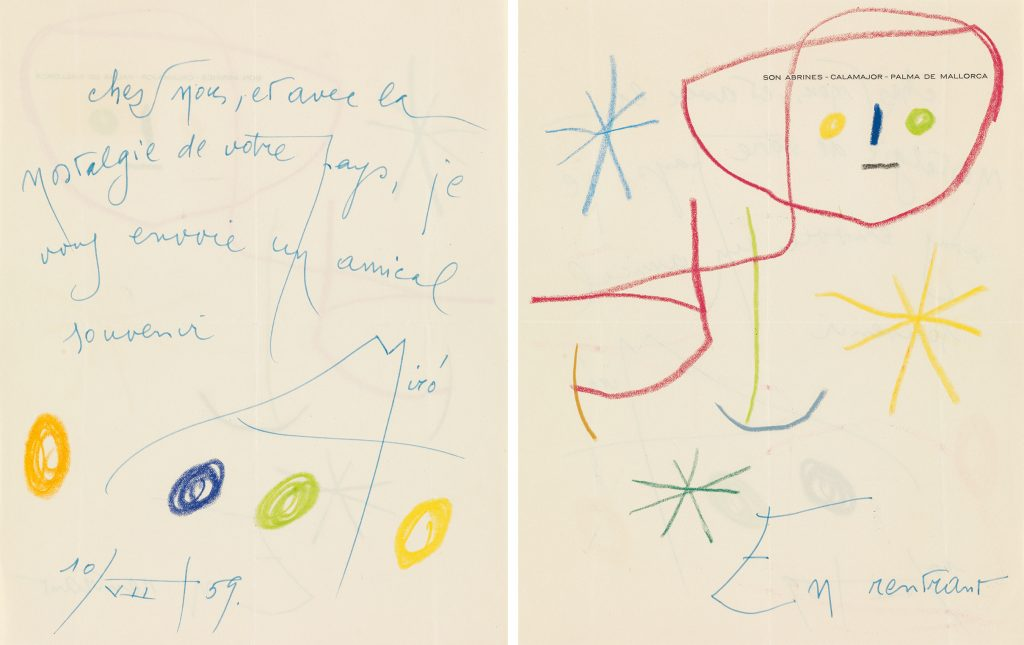 Lot 371, an illustrated letter from Joan Miró to the Director of Exhibitions & Publications at MoMA.