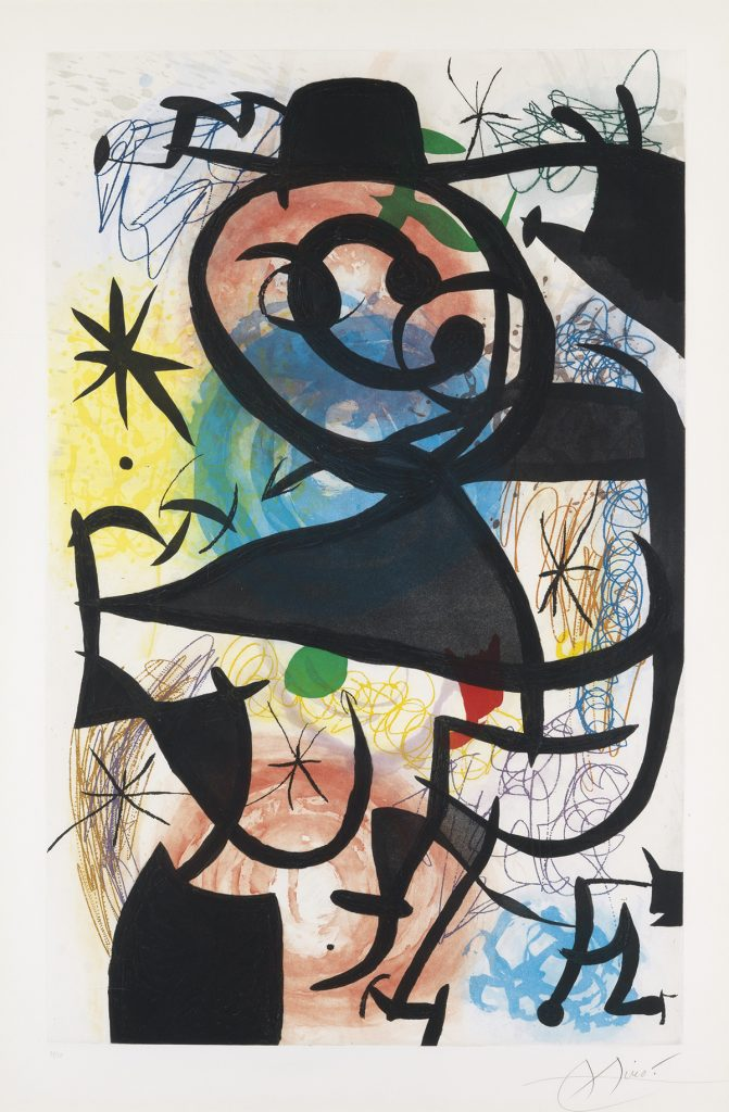 Lot 397, Le Pitre Rose, color etching and aquatint by Joan Miró.