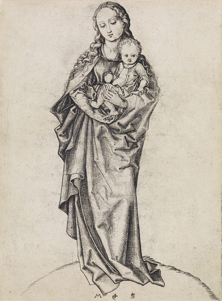 Lot 4, The Madonna and Child with an Apple, engraving by Martin Schongauer.