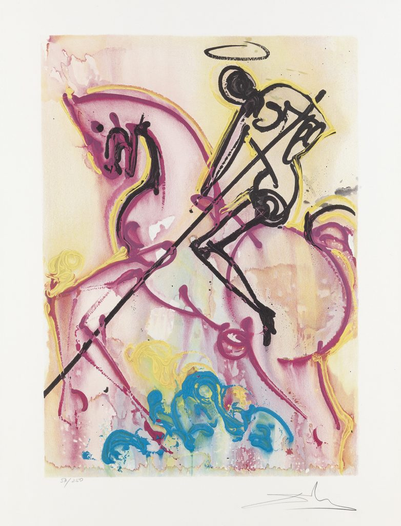 Lot 405, Les Chevaux Daliniens, color lithograph by Salvador Dalí.