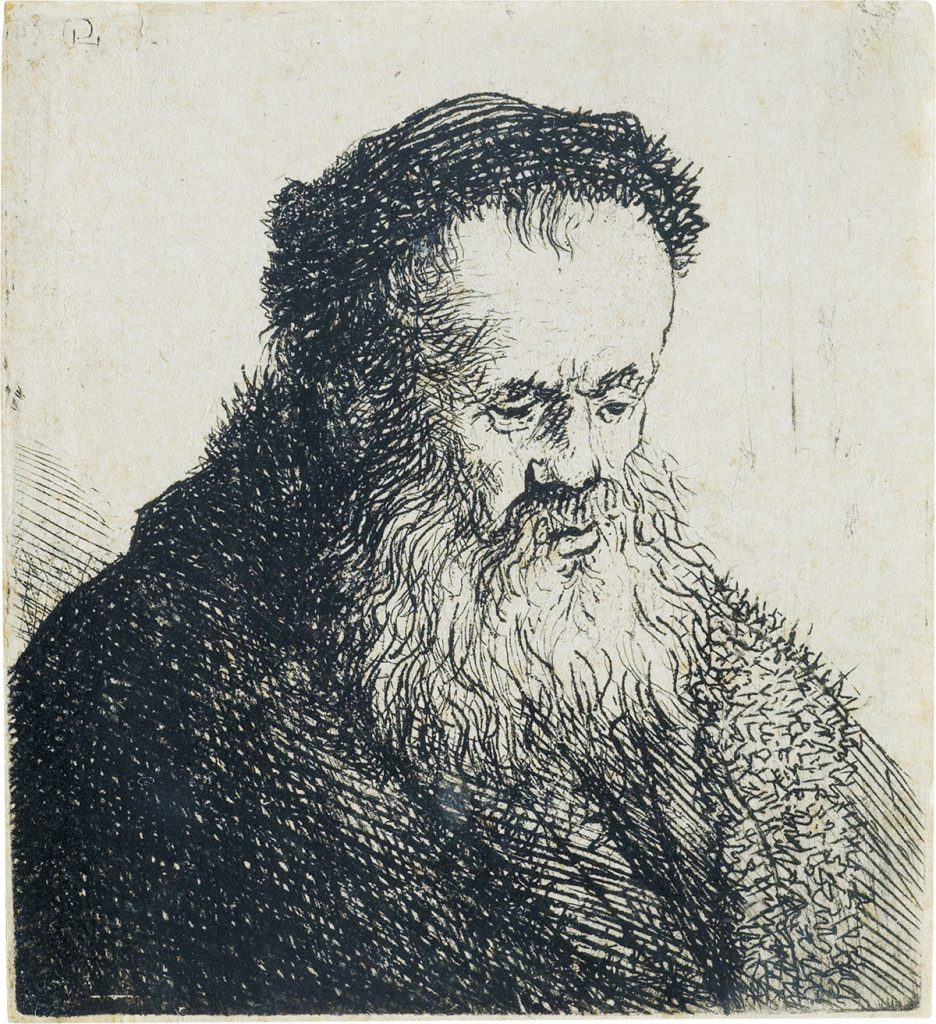 Lot 81, Bust of Bearded Old Man with a High Forehead, etching and drypoint by Rembrandt.