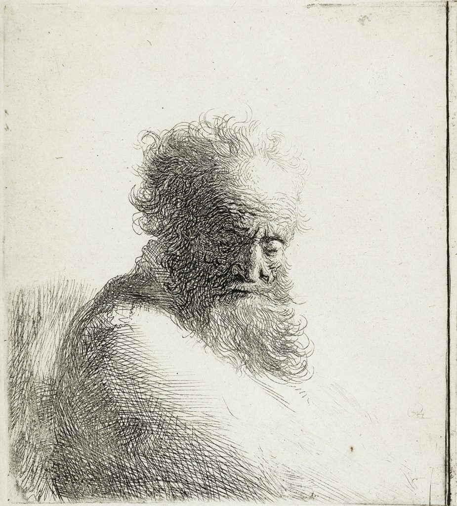 Lot 84, Bust of an Old Bearded Man, Looking down, Three Quarters Right, etching by Rembrandt.