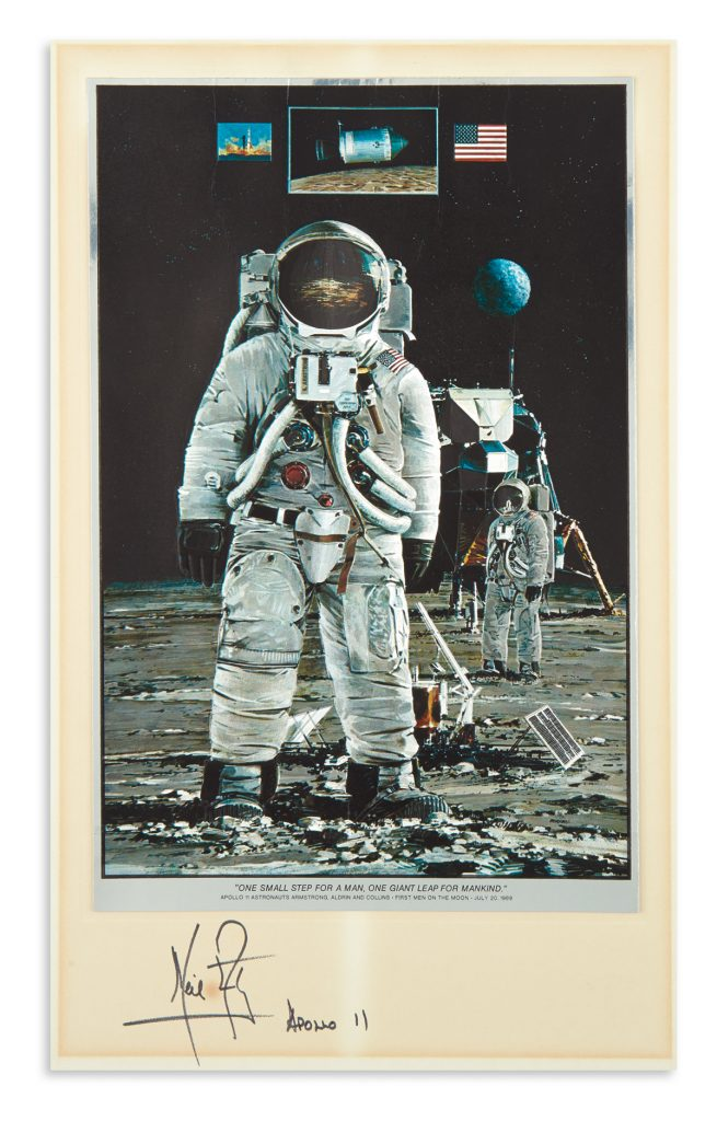 Lot 89, a print depicting the moon landing signed by Neil Armstrong.