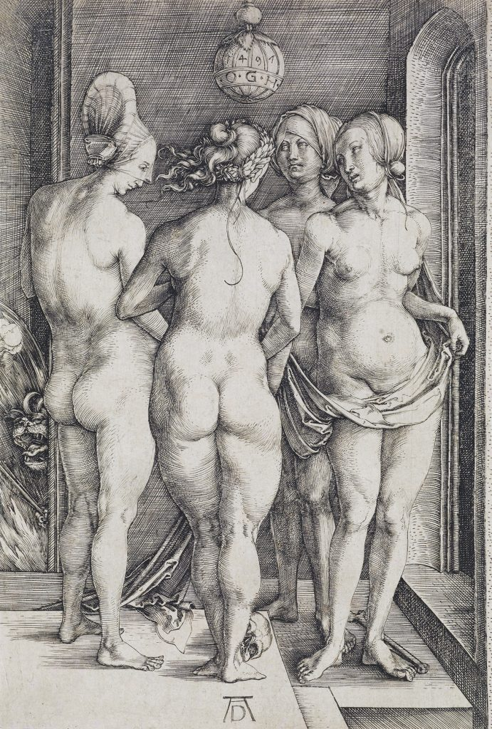 Lot 9, Four Naked Women, engraving by Albrecht Dürer.